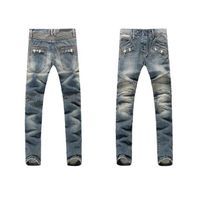 men fashion jeans pants moustache effect zipper panel in thigh latest design stone washed popular Eu