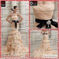 Surmount Professional Real Sample Sweetheart Champagne Organza Ruffle Mermaid Wedding dress 2015
