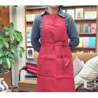 Red pure linen full bib apron thumbnail image