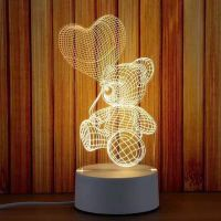 Custom Pattern Acrylic Plate 3D LED Table Lamp With Remote USB 3D LED Night Light Switch Button 3D thumbnail image