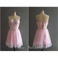 Pink Knee Length Short Tulle Beaded Prom Dress, Homecoming Dress, Cocktail Dress, Dance Dress