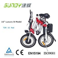 16-inch Shimano Gear Folding Electric Bicycle-Red