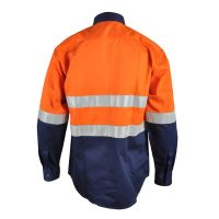 Wholesale high visibility cotton men's long sleeve work shirt with reflective strips thumbnail image