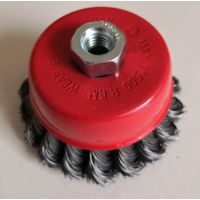 Twisted knot wire cup brush 75mm M10-1.5 steel wire