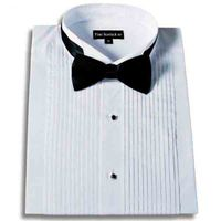 Men's Tuxedo Dress Shirt Wingtip Collar with Bow-Tie