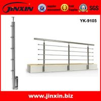 Rod Stainless Steel Side Mounted Railing Systems / Balcony Handrail Balustrades YK-9105