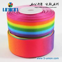 grosgrain 1 inch Rainbow Printed 25mm Decoration Heat-transfer Ribbon Satin