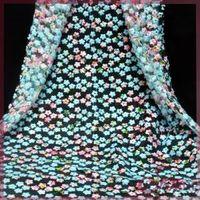 multicolor printed diamond mesh embroidery lace fabric
