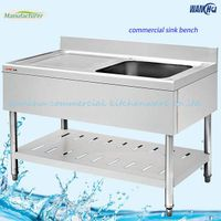 Commercial Square Stainless Steel Kitchen Sink With Drain Board And Under Shelf & Splashback