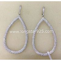Fine Sterling Silver Long Earrings Brazil Big Fashion Jewelry