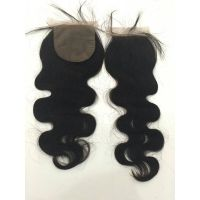virgin remy cuticle body wave silk base closure 4*4inch