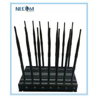 Powerful 14Antennas Jammer for Mobile Phone GPS WiFi VHF UHF, Full Band Signal Jammer, Stationary Ad