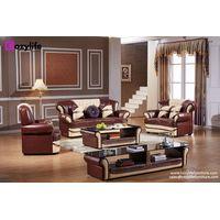 Luxury wooden leather sofa set thumbnail image