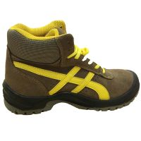 Yellow and Brown Genuine Leather Upper Steel Toe Safety Shoes for Footwear thumbnail image