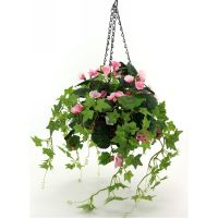 artificial begonia flower basket chrismas decoration with a pot thumbnail image