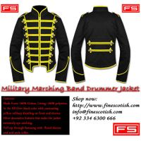 Men Black Military Marching Band Drummer Handmade Jacket 100 % Cotton
