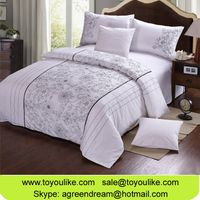 Flower Embroidered Bedspreads Pure Cotton White Queen Size Duvet Cover Winter Bedding Set Pillowcase