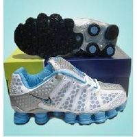 White/Silver Women Nike Shox TL3 Blue Logo Mesh & Leather Sport Shoes