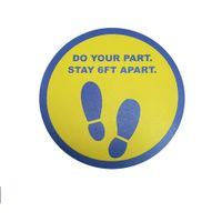 "8 inch floor decal ""Do your part..."" (blue/yellow)"