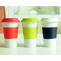 with rubber/silicon/plastic lid/cover and band/sleeveEnglis style fashion travel mug/coffee/latter