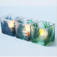 holiday 6x6x6cm square cup glass candle with rainforest pattern candle holder