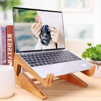 Bamboo Laptop Stand, Detachable Notebook Holder for Desk, Foldable Laptop Riser Compatible with MacB