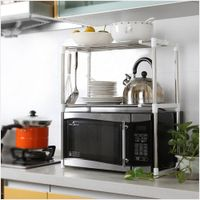 Multi functional kitchen adjustable metal dish storage microwave oven grill rack