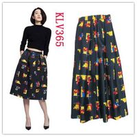 Summer Fashion Designer Women Floral Printed Long Flared Skirt