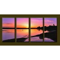 Modern Oil Paintings on canvas handmade sunrise painting -set10097
