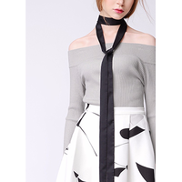 2017 Spring Newest Boat Neck Long Sleeve Slim Women Evening Sweater