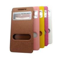 PU leather flip mobile phone case with view window