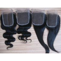 "Lace closures, Indian human hair 3.5""X4"", 4""x4"", 5""X5"" and so on"