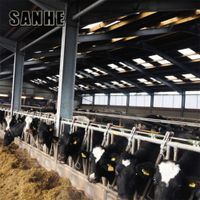 cheap prefab prefabricated light steel cattle shed farm cow shed structures barns building construc