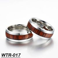 Santos Rose Wood inlay tungsten wedding ring finger ring for sale