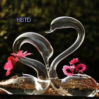 Clear Swan Plant Flower Pot Vase HP77 thumbnail image