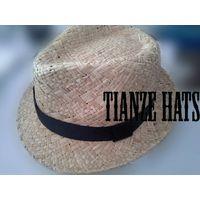 Natural Raffia Straw Fedora Hat