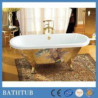 Hot sale unique gold clawfoot freestanding acrylic bathtub for wholesaler