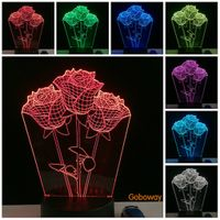 Rose Shape 3d Touch Table Lamp for Wedding Decoration Fairy Night Lights as Valentine Gifts USB Char