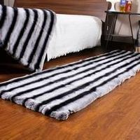 Top Quality Genuine Rex Rabbit Fur Rug Blanket Chinchilla