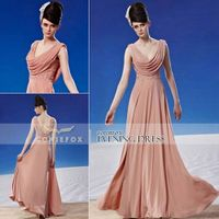 New Design! Coniefox Pink V-Neck Evening Party Dresses 81312