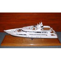 Scale Ship and Boat Model with Wooden Stand Base thumbnail image