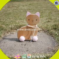 2017 wholesale kids wooden cat toy car funny baby wooden cat toy car high quality children wooden ca