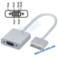 Dock Connector to VGA Adapter Connection Cable for Apple iPad 2, New iPad, iPhone 4
