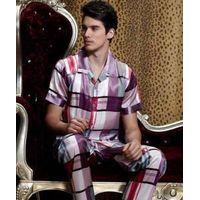 mitation Silk Men Summer Pajama , printed, geometric, purple,short Sleeve