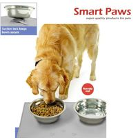 Non-Slip Silicon Pet Mat With Suction set with double 201 stainless steel pet bowls patent products
