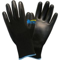 13 Guage Nylon Or Polyester Knitted Shell With Black Flexible PU Dipped ESD Work Gloves