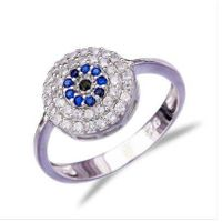 925 Sterling Silver Evil Eye Ring With Blue, Black, White CZ thumbnail image
