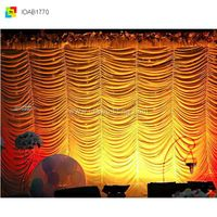 2015 New Fashion Wedding Stage Background 3x6m Backdrop Curtains With Swag, High Quality Backdrop