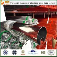 astm a312 316 welded polishing inox double 180°slot tube for glass handrail