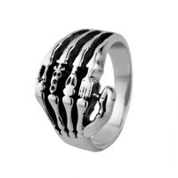 Skeleton hands ring, retro punk style 316l stainless steel skull rings